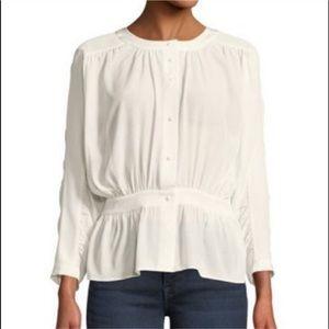 Frame Denim silk kimono sleeve button down blouse